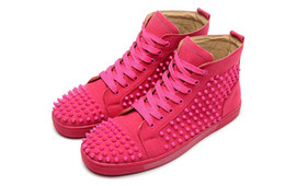 Wholesale Pink Lace Border - Luxury Brand Red Bottom Sneakers pink Suede with Spikes Casual Mens Womens Shoes Pink nails Trainers Footwear Flat Shoes size 36-46