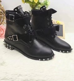 Wholesale Womens Grey Suede Boots - Brand Fashion Lace Up Bowknot Womens Martin Boots,3CM Heel Rivet Buckles Female Motorcycle Boot,Black Cow Leather Winter Boots Plus Size 42
