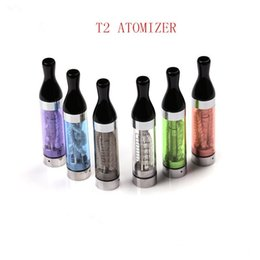 Wholesale Ego Atomizer Ce4 Long Wick - Electronic Cigarette Kanger T2 Clearomizer 2.4ml Various Colors T2 Tank Atomizers with Long Wicks for ego evod battery vs ce4 t3s ets gs h2