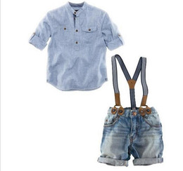 Wholesale Overalls For Kids Boy - hot summer children infant boys clothing sets fashion brand shirt+denim jean overalls handsome 2pcs baby boy suits for kids wears 2-5T