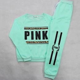 Wholesale Xl Womens Jogging Suits - Print Leopard Letter Love Pink Jogging Suits for Women Brand 2018 Tracksuit Womens Sports 2pcs Tracksuits Sweatshirt Pants Set