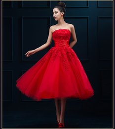 Wholesale Bandage Strapless Dress - Robe De Soire Evening Dress 2016 New Arrival Red Lace Strapless The Bride Marrige Banquet Elegant Short Tea-length Party Formal Prom Gown