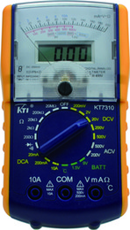 KT7310 portable digital analog dual display multimeter 9 functions in 24 ranges with temperature testing and side sliding holster
