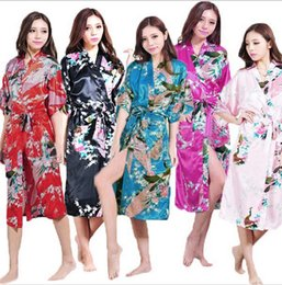 Wholesale Mid Bride Dresses - Women Silk Satin Long Wedding Bride Bridesmaid Robe Peacock Bathrobe Floral Kimono Night Robe Large Size 3XL Dressing Gown Peignoir Femme