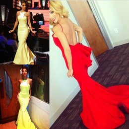 Wholesale Neon Coral Dresses - Bodycon Sexy Evening Dresses Long Backless Open Back Special Occasion Neon Green Dresses Evening Wear Mermaid Prom Bridesmaid Dress Gown