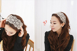 Wholesale Wide Lace Headband Wholesale - Women Fashion Fabric Lace Wide Stretch Headband Headwrap Elastic Hair Band Hair Accessory 20p l free shipping