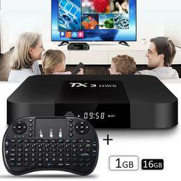 Wholesale Mini Display Box - TX3 mini android 7.1 ott tv box with wireless keyboard 1GB 16GB quad core S905W KD17.3 pre-loaded LED Screen display