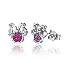 Wholesale Red Cz Earrings - BELAWANG Rose Red CZ Earrings 925 Sterling Silver Stud Earrings with Cubic Zircon for Women Lovely Stud Earring for Girl Christmas Gift