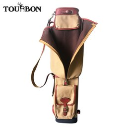 Cubierta del club del vintage online-Al por mayor-Tourbon Lápiz Estilo Golf Club Carrier Canvas Leather Vintage Golf Gun Bag W / Bolsillos laterales Interlayer Cover 87CM