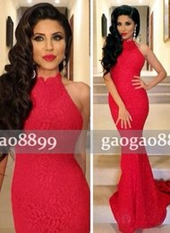 Wholesale Cheap Red Tuxedo - Hot Red Sexy Mermaid Cheap Adoration Formal Evening Dresses Mermaid Halter Backless Sleeveless Sweep Train High Neck Ladies formal tuxedo