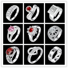 Wholesale Cheap Silver Stoned Rings - Mixed wholesale 925 silver plated wedding rings romantic Valentine's Day gift fashion jewelry cheap hot free shipping mix order 9pcs lot