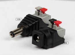 Wholesale Terminal Strips Wholesale - DC Male +DC Female connector Quick press terminal 2.1*5.5mm DC Power Jack Adapter Plug Connector for 3528 5050 5730 led strip