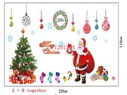 Wholesale Outdoor Plastic Tree - 120pcs lot Free Shipping Fashion Christmas Santa Claus & tree Wall Sticker windows cabinet PVC decoration stickers