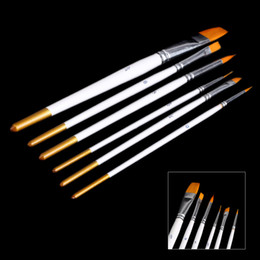 Wholesale Wholesale Oil Painting Brushes - Wooden Handle Gouache Watercolor Oil Painting Acrylics Art Supplies 6pcs set Different Shape Nylon Hair Paint Brush Set H14892