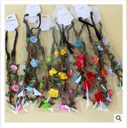 Wholesale Hairbands For Women Brides - Bride Bohemian Flower Headband Festival Wedding Floral Garland Hair Band Headwear Hair Accessories for Women Photography Props m0729
