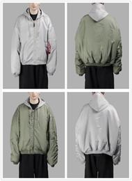 Wholesale Womens Green Jacket - High-quality Womens Men Fashion Hoodies and Sweatshirts Simon Hip Hop Jacket Vetements MA-1 Bomber Jacket Green Tourist Hoodie