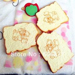 Wholesale Squishy Cartoon Toasts - Wholesale-20pcs lot New 13cm Cartoon Stitch Bitten Toast squishy Wrist Pad   free shipping