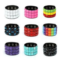 Wholesale Punk Studded Bracelet - Punk Men Women Wide Leather Bracelets Colorful Mosaic Studded Charm Button Wristband Lover Cuff Bangles PB13001