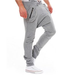 Wholesale Narrow Trousers - Wholesale-Pocket Zipper Design Sport Hip Hop Trousers sweatpants Narrow Feet Slimming Trendy Lace-Up Polyester Low-Crotch Pants For Men