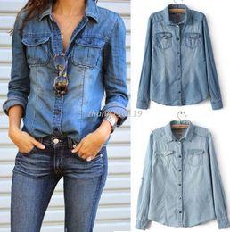 Wholesale Women Jean Jacket L - Hot New Retro Fashion Women Casual Blue Jean Denim Long Sleeve Shirt Tops Blouse Jacket