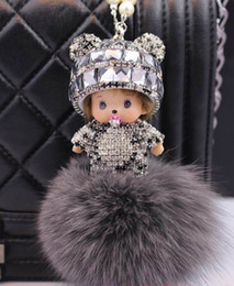 Wholesale Cheap Hanging Decorations - Cute Shiny Crystal Rhinestone Monchhchi Car Interior Decorations Handmade Lucky Money With Fox 2016 Hot Selling Car Hanging Ornaments Cheap