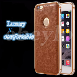 Wholesale Iphone Pieces Bumper - Phone Case For iPhone 6 6 Plus Original Metal Soft TPU One-piece Forming Frames and Leather Back Cover Bumper Shell iPhone Cases