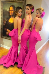 Wholesale Bridemaids Dresses Pink - Fuschia Sexy Mermaid Junior Bridesmaid Dresses Long Backless Wedding Party Gowns Bridemaids Of Honor Dress Custom Made Size And Color