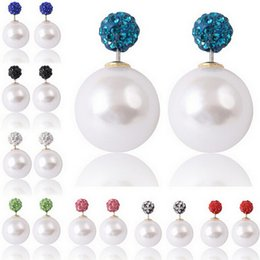crystal ball ear stud Promo Codes - Celebrity 16mm Shining Double Side Pearl Earrings 8MM Clay Crystal Beads Earrings Ball Plug Earings Ear Studs