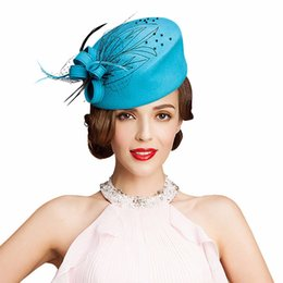 Wholesale Christmas Cocktail Dresses For Women - Fascinator Hats for Women Winter Embroidered Veil Wool Felt Pillbox Hats for Formal Cocktail Party Wedding Hats Dress Fedoras
