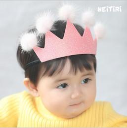 Wholesale Kids Hair Balls - 2018 Christmas Kids Girls Sequins Crown Hair Sticks Baby Girls Princess Fur ball Headbands Babies Hair Accessories