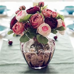 Wholesale Hotel Sales - Wholesale 4 color best sale DIY Decoration wedding home table hotel vase Artificial silk simulation beautiful rose flowers