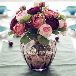 Wholesale Artificial Home Decoration - Wholesale 4 color best sale DIY Decoration wedding home table hotel vase Artificial silk simulation beautiful rose flowers