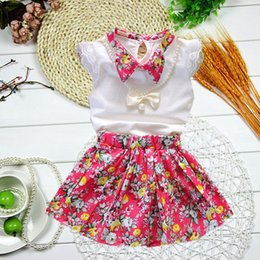 Wholesale Girls Necklace Outfits - 2015 Girls Pearl Necklace Short Sleeve 2pcs Outfits=TShirt+ Skirt 3 Colors 4 Sizes 2-5Y Flower Skirt Outfits Sets Outwear