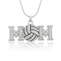 Wholesale Rhinestone Volleyball - volleyball mom one sided crystal necklace