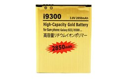 Wholesale Galaxy S3 High Capacity Battery - Brand New long charging replacement battery For Samsung Galaxy S3 SIII I9300 High Capacity Gold 2850mAh High Quality Hotselling one sample