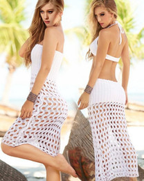 Wholesale Skirt Swim Suits - 2015 New Summer Women Handmade Crochet Bikini Dress Beach Cover Up Skirt Wrap Sexy Swim Suit Cover Up beachwear Mesh