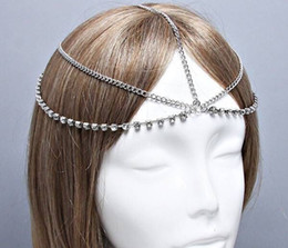 Wholesale Wholesale Celtic Metal Headbands - Wholesale- retail free shipping fashion metal rhinestone headband body chains jewelry necklace
