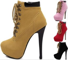 Wholesale Almond Boots - Sexy Women Platform Lace Up High Heel Ankle Boot Booties Stiletto Heels Almond Toe Shoes Size 35 to 40