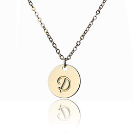 Wholesale Thin Chain Link Necklace - Simple Intial Disc Charm Necklace for Ladies Thin Letters Monogram Charm Gold and Silver Necklace ,NL-2459