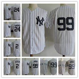 Wholesale Cool White Kids - Youth Derek Jeter Cool Base baseball Jerseys Stitched white gray Kids #99 Aaron Judge #24 Gary Sanchez Jersey S-XL