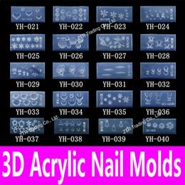 Padrão de unhas acrílicas on-line-Atacado-1piece 3d Acrílico Nail Template Acrílico Nail Carving Molde Nail Art Template em 139 desenhos Pattern decoração Silicon Gel Tools