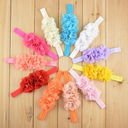 "Wholesale Baby Headbands Craft - 4.3"" Baby Soft Chic Chiffon Flower Group Headbands Kids Hand Craft hair band Hair Accessories Nerborn Headbands 18 colors babadoudou"