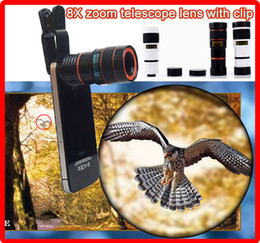 Wholesale Iphone External Camera Lens - Universal 8X zoom cell phone telescope camera optical lens with clip 8x external lens Mobile Phone Telescope for iPhone 4 4S 5 5C 5S i6