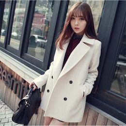 Wholesale Light Blue Coat Women S - Wholesale-Winter Medium-Long White Light Blue Wool Coat Women's Peacoat Korean Fashion Double Breasted Plus Size Outwear Manteau Femme