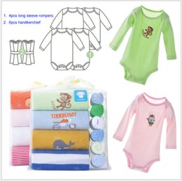 Wholesale Infant Girl Summer Clothes Sale - 1 pack Retail Hot sale baby boys girls toddler infant clothing jumpsuit Romper bodysuits 1pack=4pcs bodysuits+6pcs towels -A002