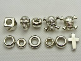 Wholesale Spacer Findings - 200 Assorted Silver Tone Metallic Acrylic Skull Big Hole Beads Ring Spacer Finding