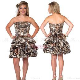 Wholesale Short Cheap Stylish Dresses - 2017 New Stylish Strapless Ball Gown Cheap Camo Short Bridesmaid Dresses Lace Up Mini Cocktail Dress Graduation Dress Short Prom Gown BO7650
