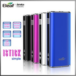 Wholesale Pack Ego Vv - Eleaf iStick 20W 2200mah 510 eGo Battery Simple Pack VV VW Mods Variable Wattage Battery The Smallest DNA Style With OLED Screen For E Cig