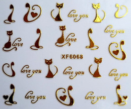 Wholesale Art Design Styles - Can Mix Style Gold Zipper 3d Designs Nail Art Stickers Decals Crown Bowknot Love Beard Cat Manicure Decor Tools DIY Nail Art Tips