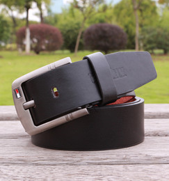 Wholesale Waistband Women - Belts Men Fashion Belts Square Silver Buckle Lether Waist Strap Casual Waistband for men gift Black white coffee khaki Free shipping